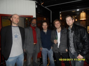 Copyright. API photo. Blues Musicians at Willy's Bar. Willy(2nd from left)