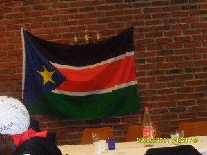 API Photo: Celebrations in Oslo Norway: Flag of the new Nation The Republic of South Sudan. Independence declared yesterday.