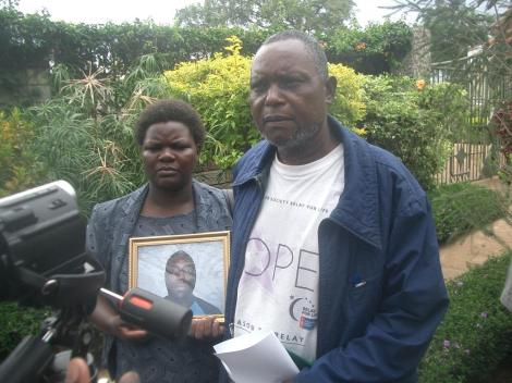 The deceased's mother Florence Othieno and father Lucas Otieno speak to journalists