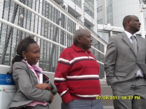 African Press International Photo:(From right), Hon. Charles Keter, Hon. Zakayo Cheruiyot and a lawyer waiting outside the ICC for Ruto, Kosgey and Sang to come out after the proceedings ended
