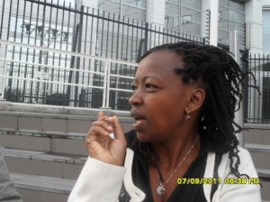 African Press International Photo: Mrs Rachel Ruto waiting outside the ICC for her husband Hon. Ruto to come out after the proceedings ended