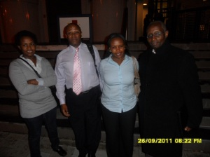 African Press International photo: Maria living in the Hague (left) and Njeri living in Rotterdam together with Advocates Mr Njenga Mwangi second left and Mbuthi Githenji far right at the ICC to following Kenya case nr 2