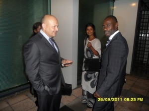 African Press International photo: The three of Mr Muthaura's lawyers, Mr Ogeto is not on the photo