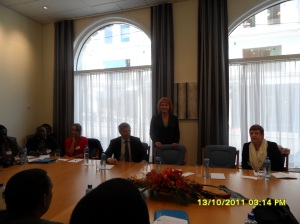 African Press International photo: Deputy President Norwegian Parliament Hon. Marit Nybakk (standing) inside Norweian Parliament addressing the Kenya delegation. Oslo, the 13th. October 2011