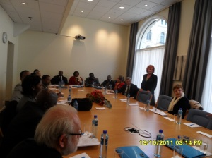 African President International photo: Hon Marit Nybakk, (below) addresses the Kenya delegation in the Norwegian Parliament meeting room, on the 13th of October 2011. By his side on the left is the former Norwegian Prime Minister Kjell Magne Bondevik