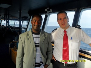 www.africanpress.me - Malino was one of the passengers who was privileged to meet the Captain and some of his crew at the Steering Room.