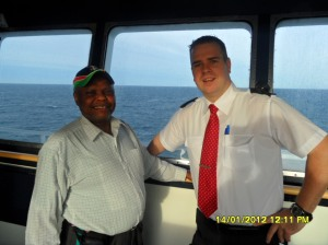 www.africanpress.me - Sammy was one of the passengers who was privileged to meet the Captain and some of his crew at the Steering Room.