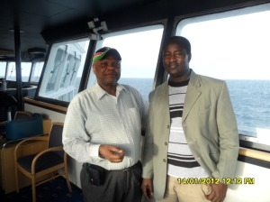 www.africanpress.me - Sammy and Malino in the Captain's Steering Room on the ship's return to Norway from Denmark (Oslo-Fredrikshavn-Oslo trip)