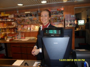 www.africanpress.me - One of the happy Boat receptionists ready to receive the passengers on board for the trip from Oslo in Norway to Fredrikshavn in Denmark, a 24 hour return-trip