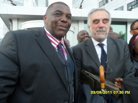 Copyright: www.africanpress.me : David Matsanga and ICC Chief Prosecutor Moreno Ocampo. The photo can only be used after acquiring a written authority from API Chief editor