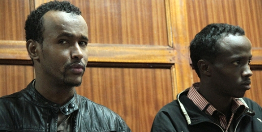 www.africanpress.me/ Abdimajid Yassin Mohamed alias Ali Hussein (left) and Omar Abdi Adan alias Salman Abdi (right) appearing in a Nairobi court on 17th September 2012