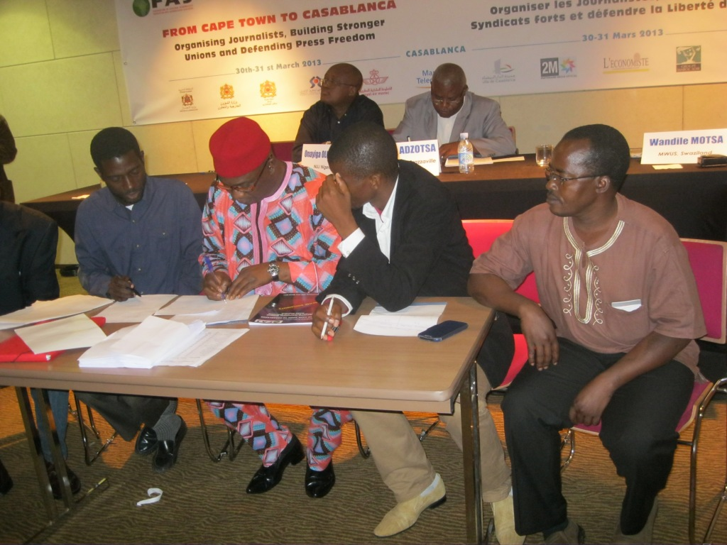www.africanpress.me/ - Members of the FAJ Elections Board consult during the conference and elections.