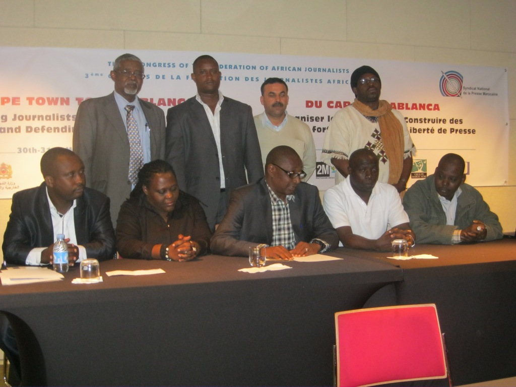 www.africanpress.me/ - Newly Elected members of the FAJ Steering Committee immediately after their election in Casablanca, Morocco.